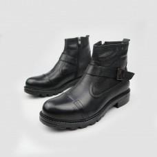 Ботинки черные кожаные 90208М-BLK