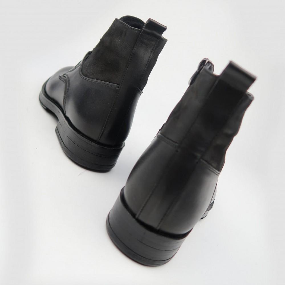 Ботинки черные кожаные 90209М-BLK