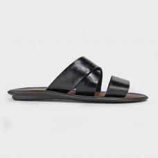 Шлепанцы черные кожаные Selena-BLK