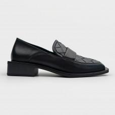 Черные кожаные туфли с квадратным носком 227-1-BLK