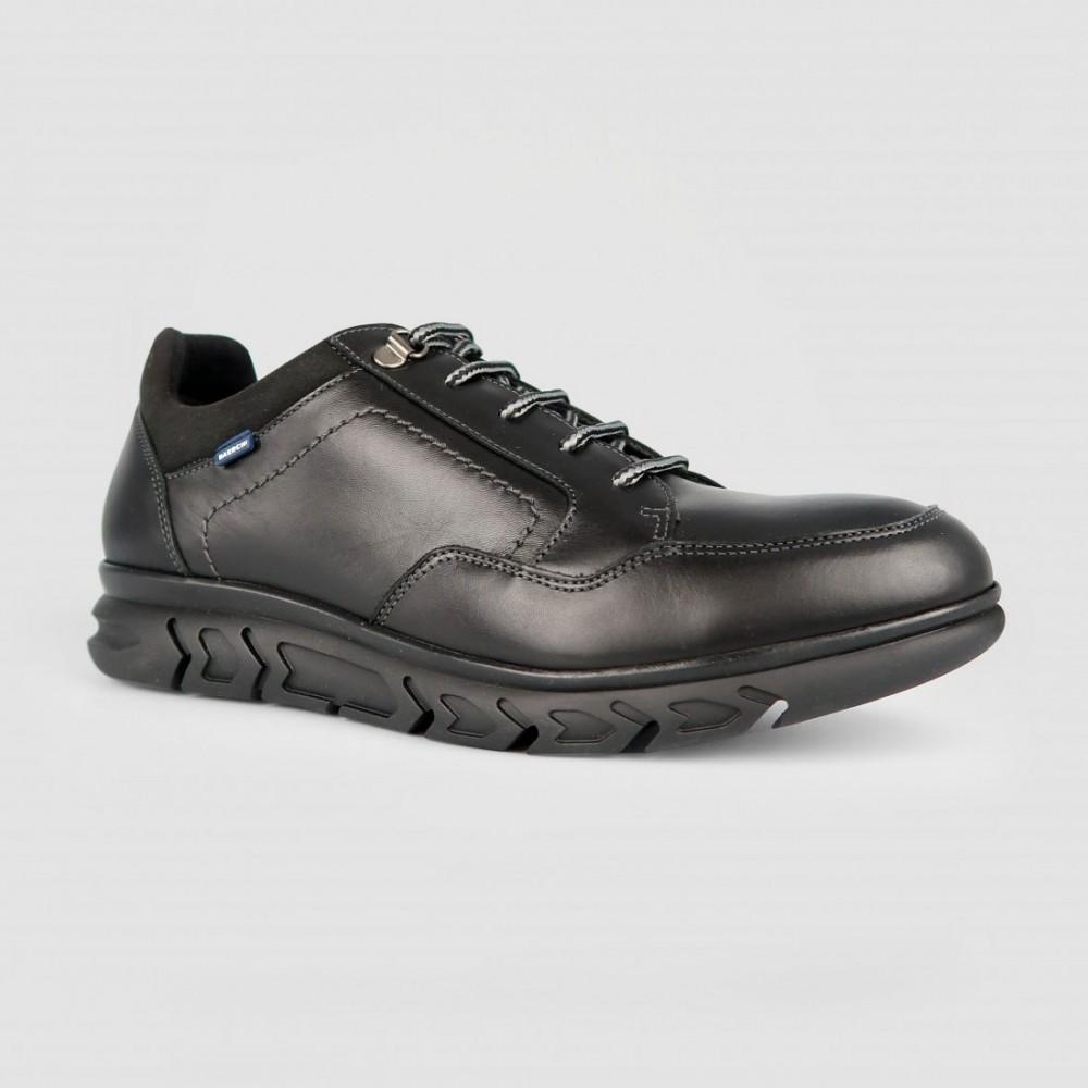 Кроссовки черные кожаные 5576-BLK