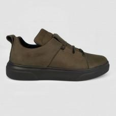 Кроссовки зеленые кожаные 35018-GRE