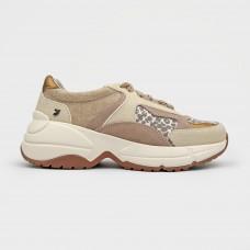 Бежевые кожаные кроссовки 58663-NUD