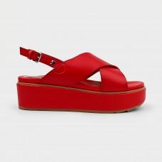 Красные веганские босоножки из экокожи 59806-RED