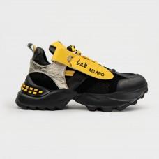 Черные кожаные кроссовки на массивной подошве ZEN1882-BLK