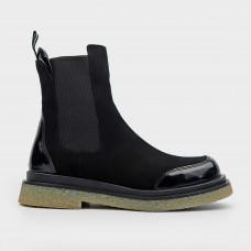 Черные осенние замшевые ботинки челси 0435-65-BLK