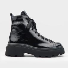 Черные кожаные ботинки 016-BLK