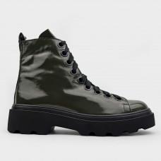 Зеленые кожаные ботинки 016-GRN
