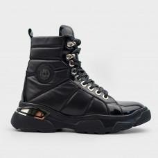 Черные кожаные ботинки LAB 1290-BLK