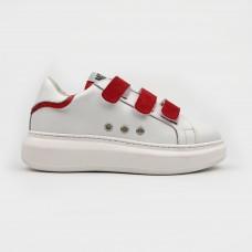 Белые кожаные кеды с красными липучками ER9915-WHI