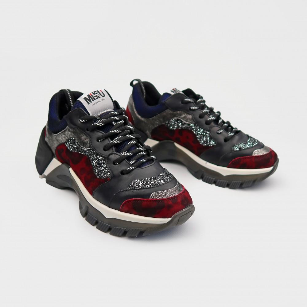 Черные кожаные кроссовки ER334Bord-BLK
