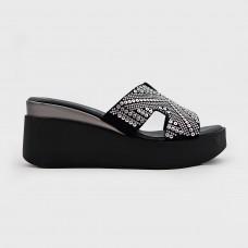 Черные кожаные шлепанцы в стиле гермес CA5126-BLK