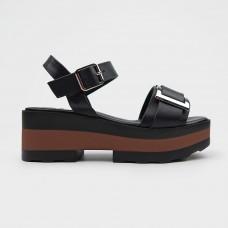 Черные кожаные босоножки 61250-BLK