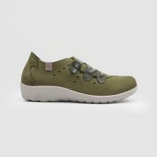 Мокасиные зеленые кожаные 4453-GRE