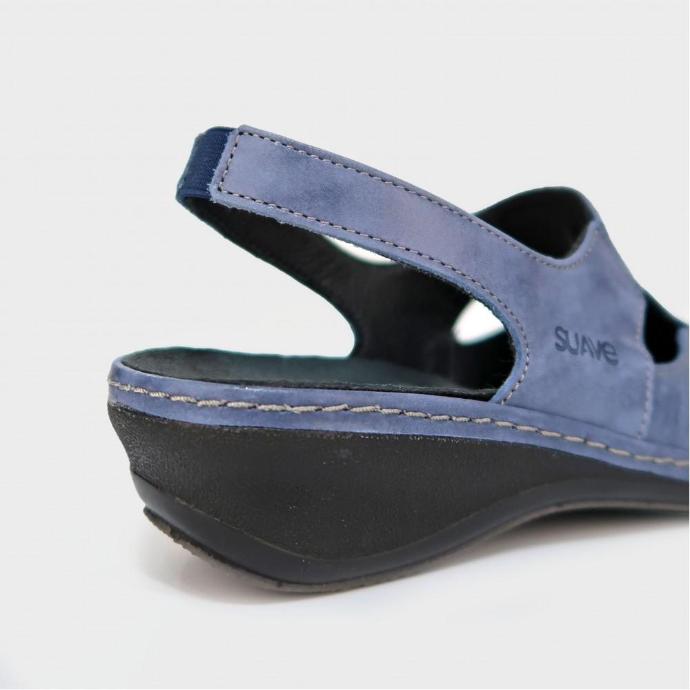 Сабо синие кожаные 0918-NAV