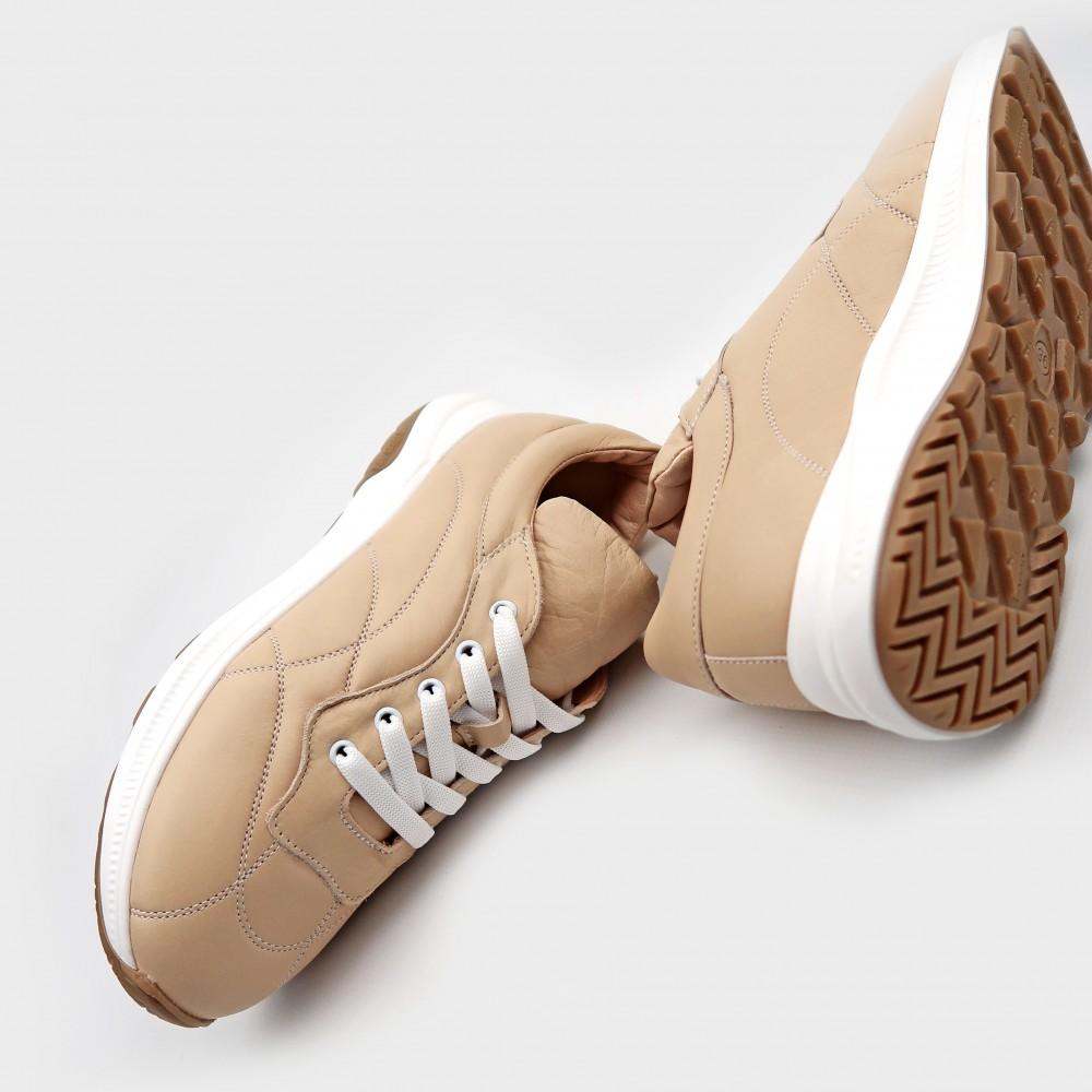 Кроссовки бежевые кожаные 21118-NUD