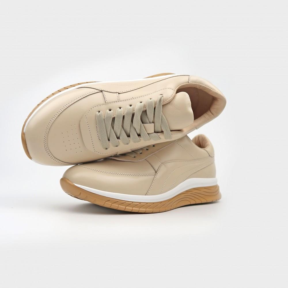 Кроссовки бежевые кожаные 21127-NUD