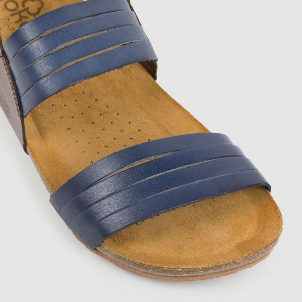 Босоножки синие кожаные BEACH-142-NAV