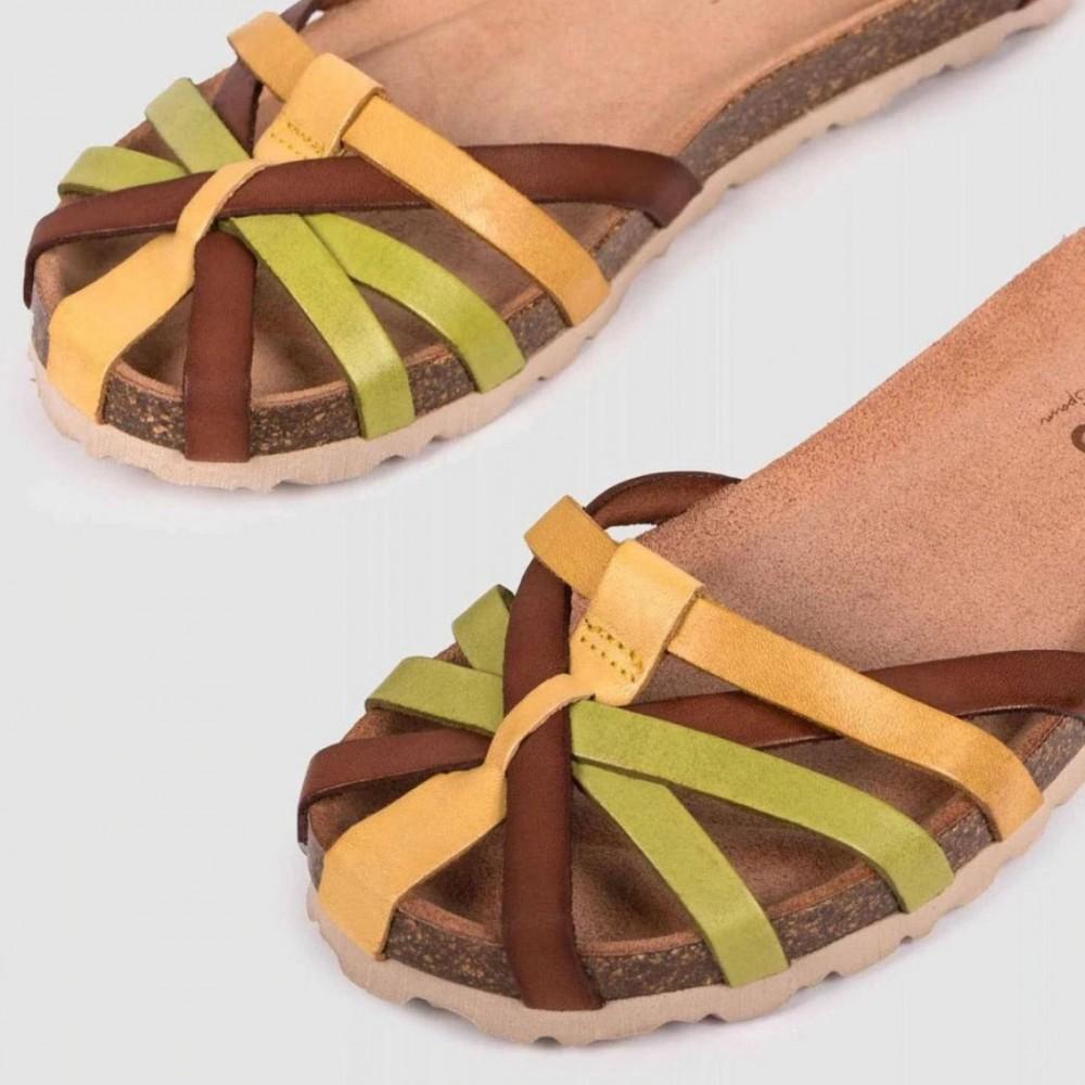 Босоножки желтые кожаные VILLA-011-YEL