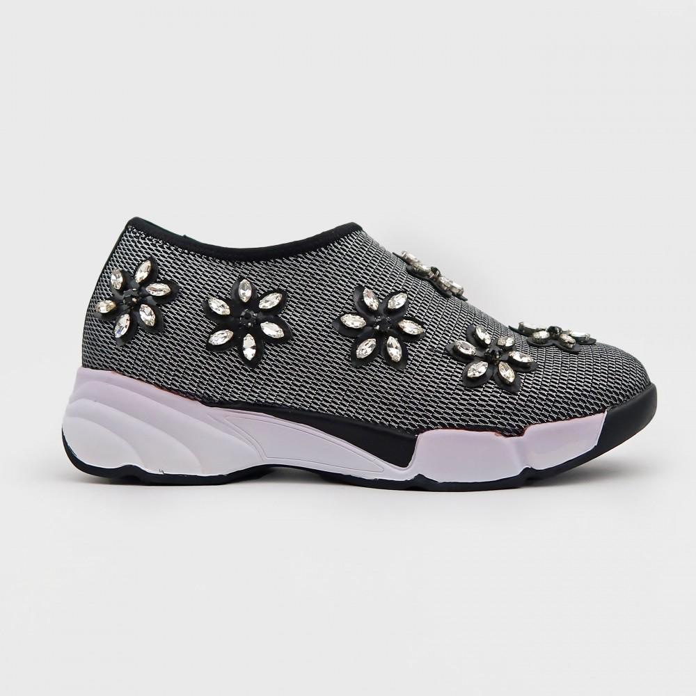 Черные текстильные кроссовки со стразами 708-5-BLK