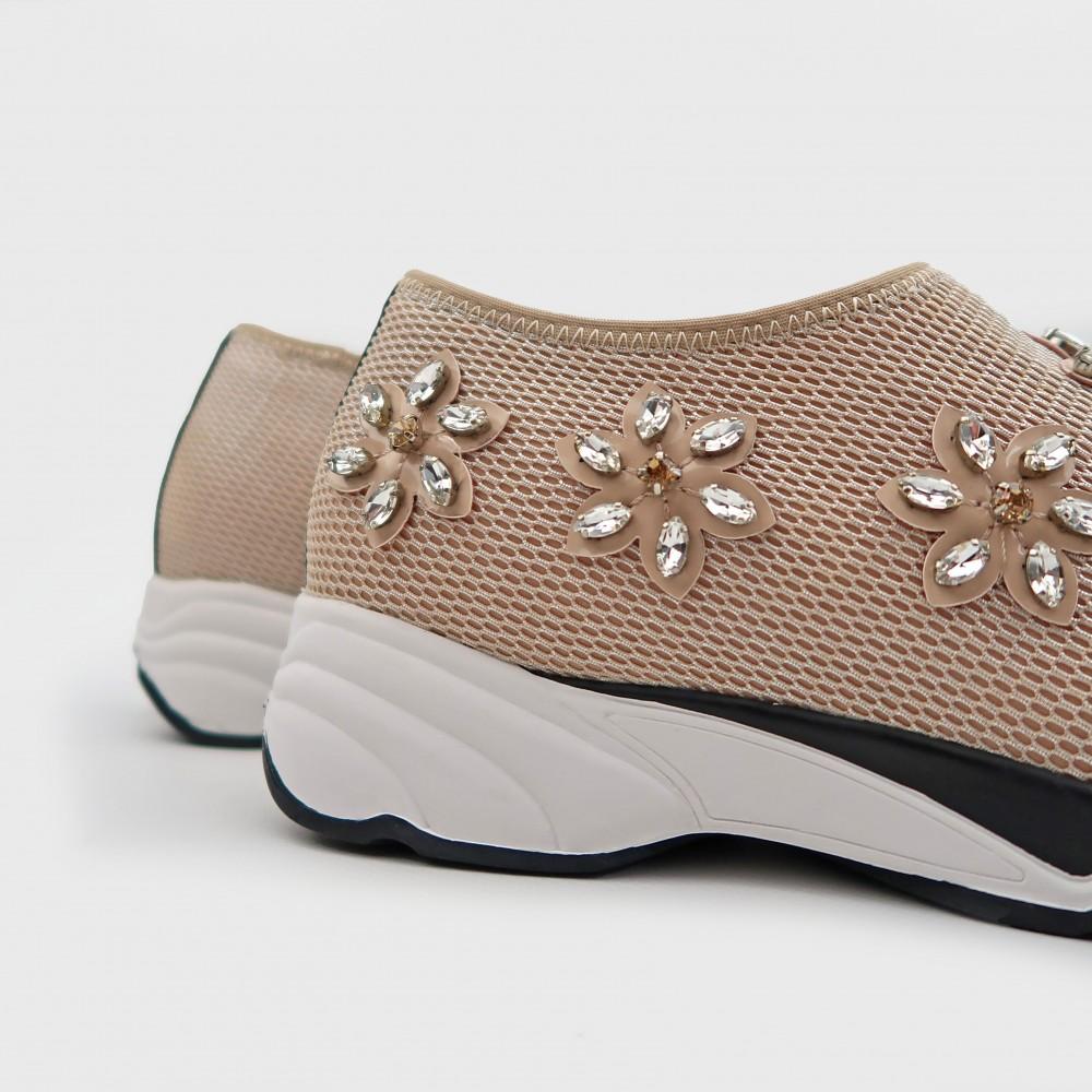 Бежевые текстильные кроссовки 708-5-NUD