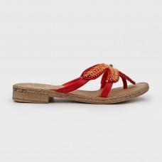 Крансые веганские шлепанцы из экокожи 13321-RED