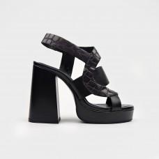 Черные кожаные босоножки EL4602X-BLK