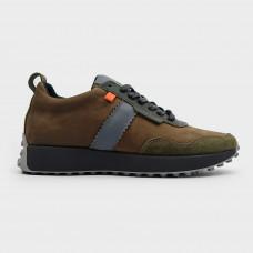 Зеленые кожаные кроссовки 200618-GRE