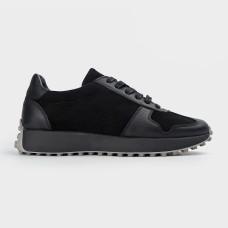 Черные кожаные кроссовки 200314-BLK
